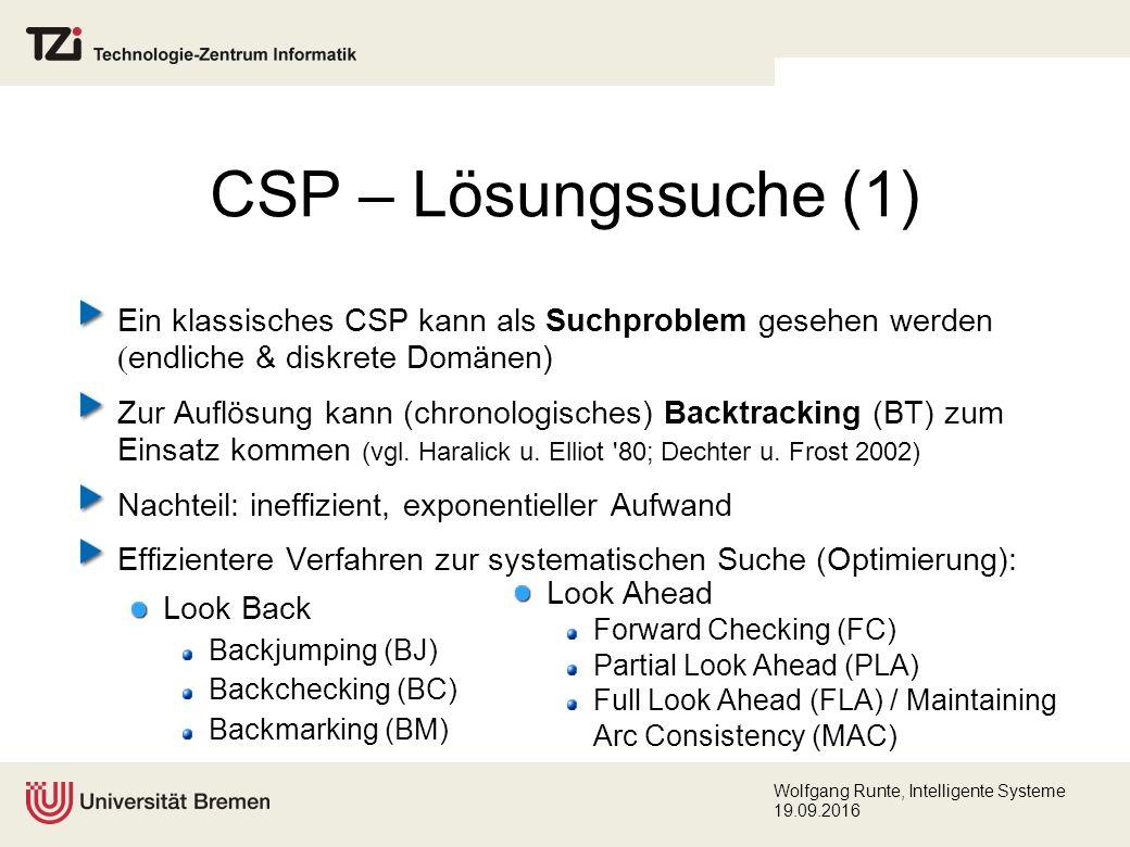Wolfgang Runte, Intelligente Systeme 19.09.2016 CSP – Lösungssuche (1) Ein klassisches CSP kann als Suchproblem gesehen werden  endliche & diskrete Domänen) Zur Auflösung kann (chronologisches) Backtracking (BT) zum Einsatz kommen (vgl.