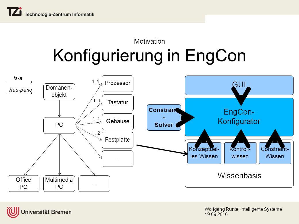 Wolfgang Runte, Intelligente Systeme 19.09.2016 Zusammenfassung Ersetzung des externen Constraint-Solvers für algebraische Constraints des strukturbasierten Konfigurierungswerkzeugs EngCon.