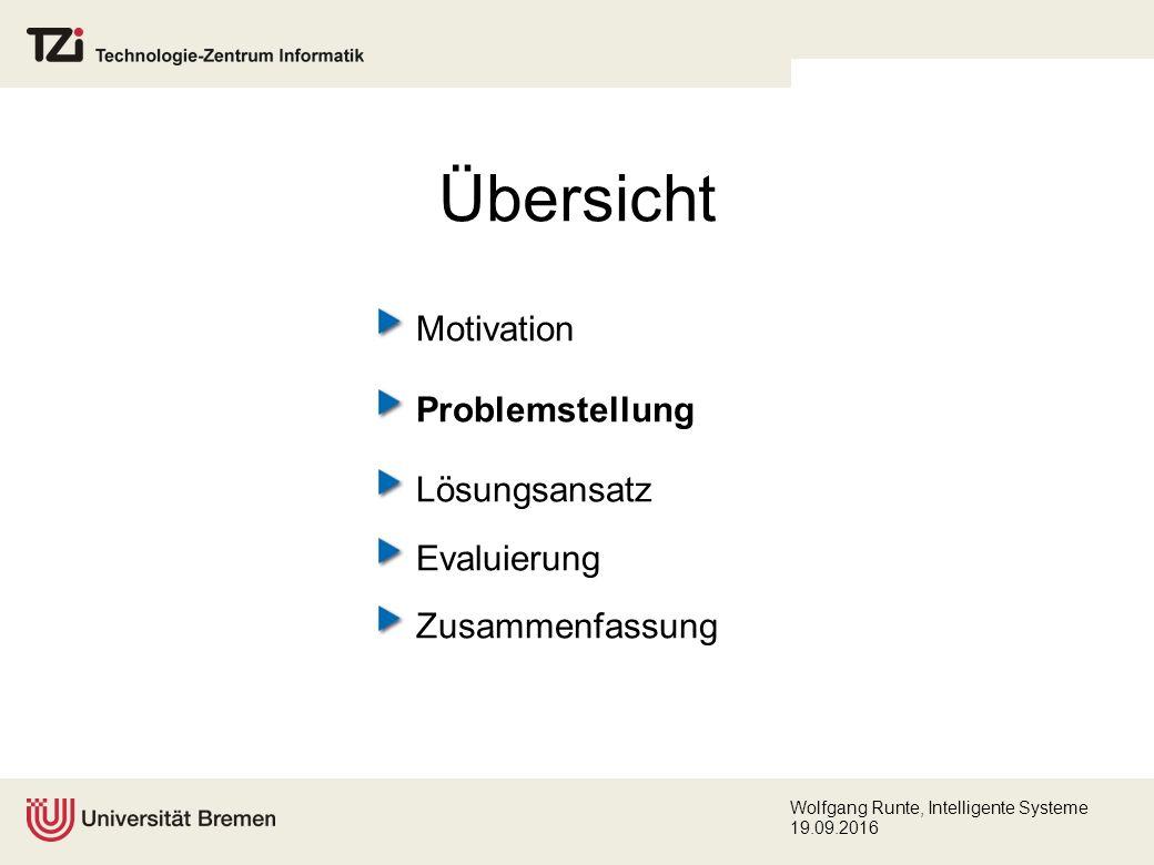 Wolfgang Runte, Intelligente Systeme 19.09.2016 Lösungsansatz (Konzeption) Abstraktion durch Strategien (2) Jedes Constraint wird vom Wissensingenieur mit einer geeigneten Lösungsstrategie assoziiert.