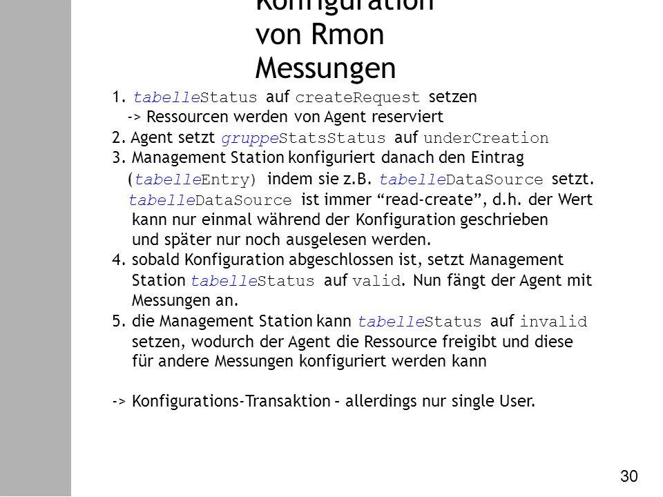 Datenkommunikation – VI. Netzw. Management Konfiguration von Rmon Messungen 1.