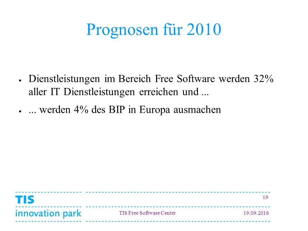 TIS Free Software Center19.09.2016 19 Prognosen für 2010 ● Dienstleistungen im Bereich Free Software werden 32% aller IT Dienstleistungen erreichen un