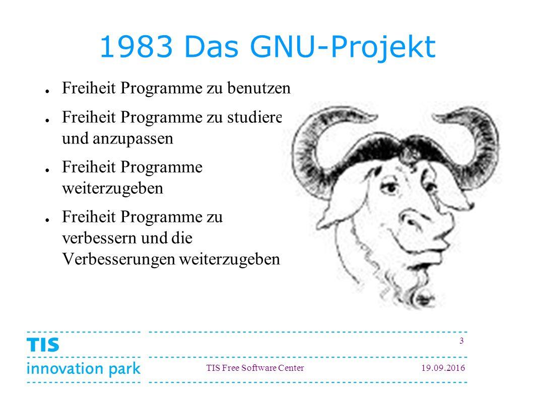 TIS Free Software Center19.09.2016 3 1983 Das GNU-Projekt ● Freiheit Programme zu benutzen ● Freiheit Programme zu studieren und anzupassen ● Freiheit Programme weiterzugeben ● Freiheit Programme zu verbessern und die Verbesserungen weiterzugeben