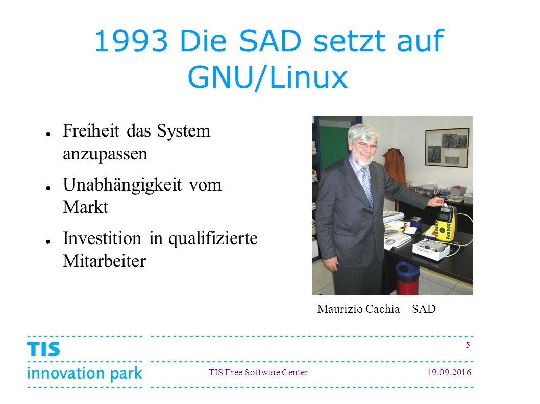 TIS Free Software Center19.09.2016 5 1993 Die SAD setzt auf GNU/Linux ● Freiheit das System anzupassen ● Unabhängigkeit vom Markt ● Investition in qua