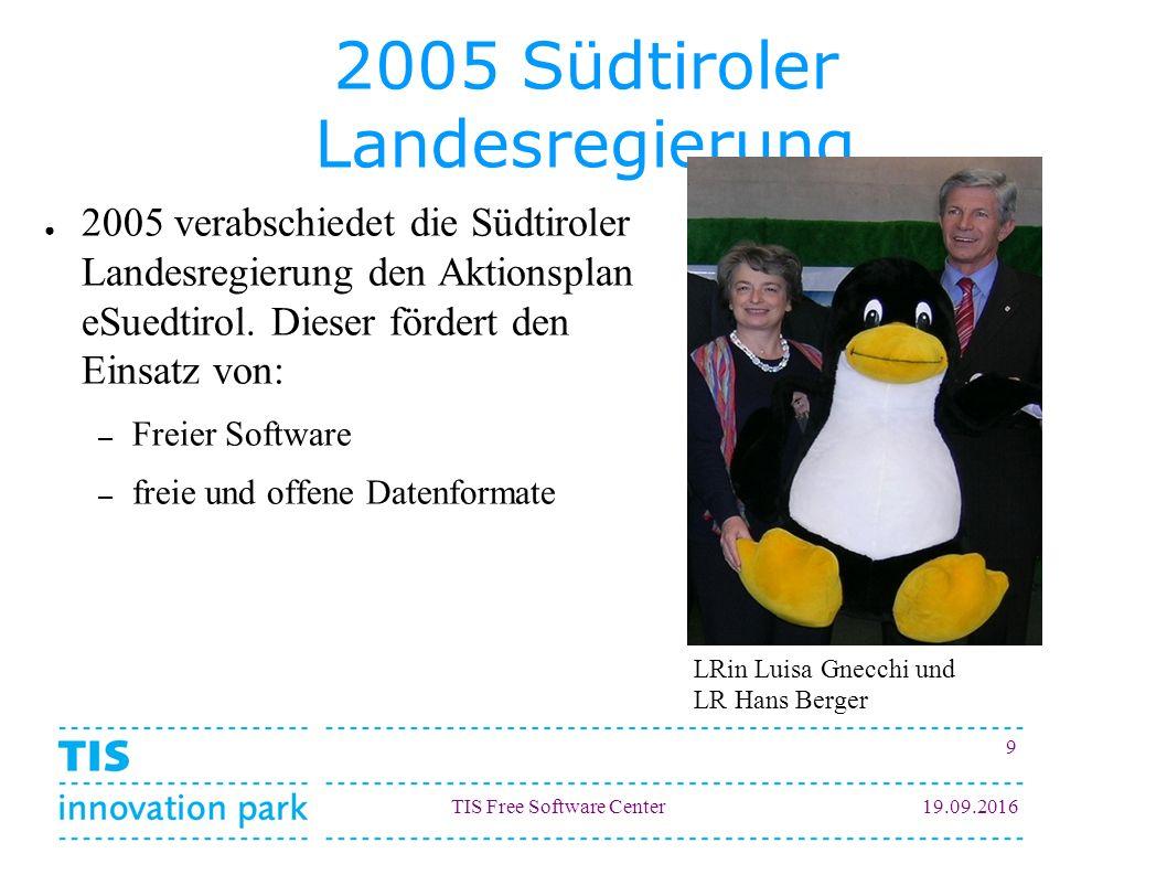 TIS Free Software Center19.09.2016 9 2005 Südtiroler Landesregierung ● 2005 verabschiedet die Südtiroler Landesregierung den Aktionsplan eSuedtirol.