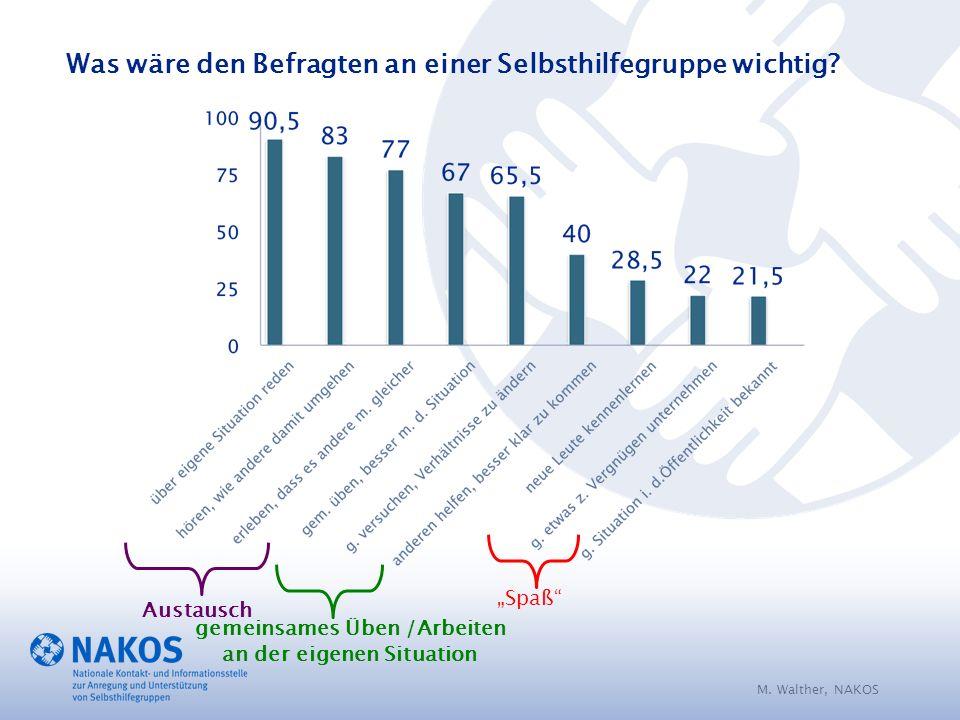 M. Walther, NAKOS Was wäre den Befragten an einer Selbsthilfegruppe wichtig.