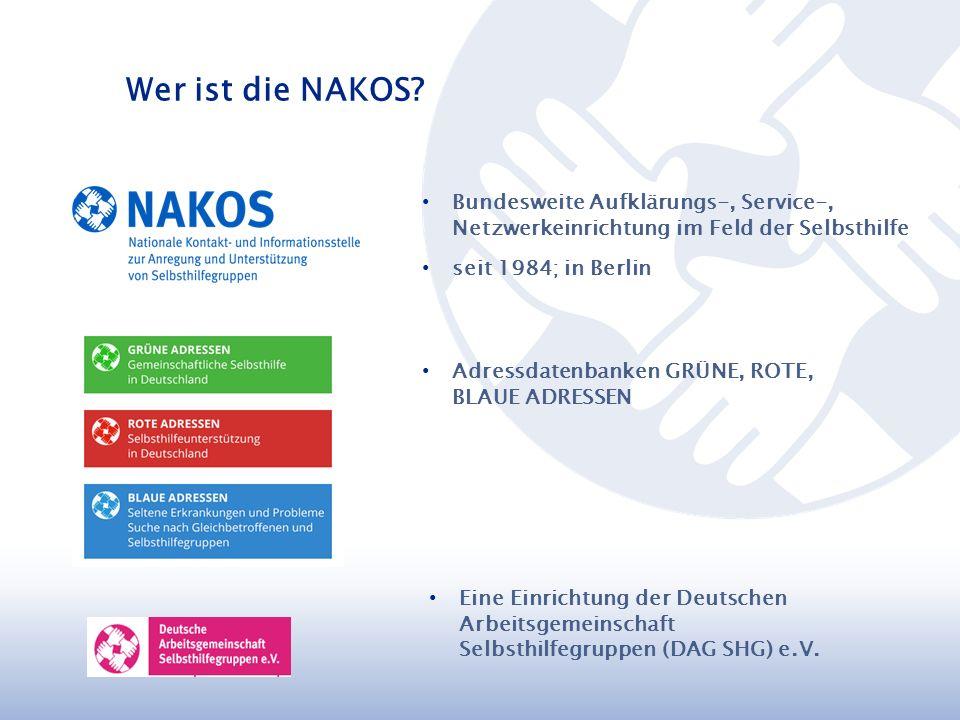 Bundesweite Aufklärungs-, Service-, Netzwerkeinrichtung im Feld der Selbsthilfe seit 1984; in Berlin Eine Einrichtung der Deutschen Arbeitsgemeinschaft Selbsthilfegruppen (DAG SHG) e.V.