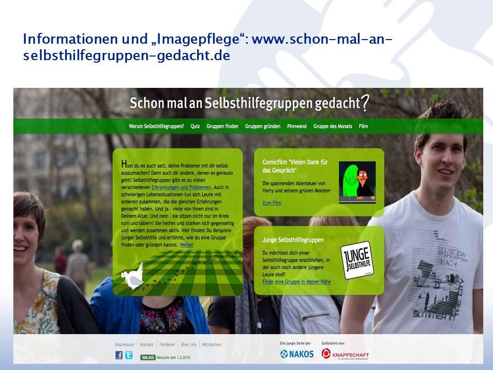 """Informationen und """"Imagepflege : www.schon-mal-an- selbsthilfegruppen-gedacht.de M. Walther, NAKOS"""