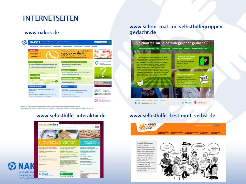 INTERNETSEITEN www.nakos.de www.schon-mal-an-selbsthilfegruppen- gedacht.de www.selbsthilfe-interaktiv.dewww.selbsthilfe-bestimmt-selbst.de