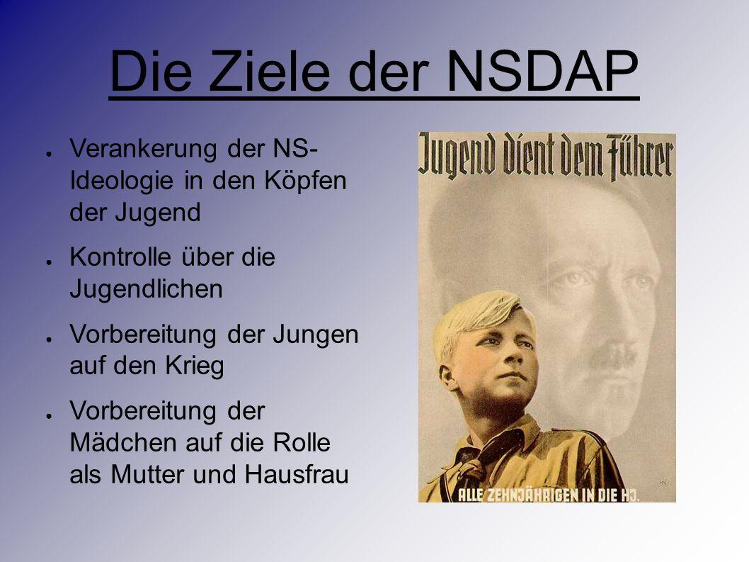 Die Ziele der NSDAP ● Verankerung der NS- Ideologie in den Köpfen der Jugend ● Kontrolle über die Jugendlichen ● Vorbereitung der Jungen auf den Krieg ● Vorbereitung der Mädchen auf die Rolle als Mutter und Hausfrau