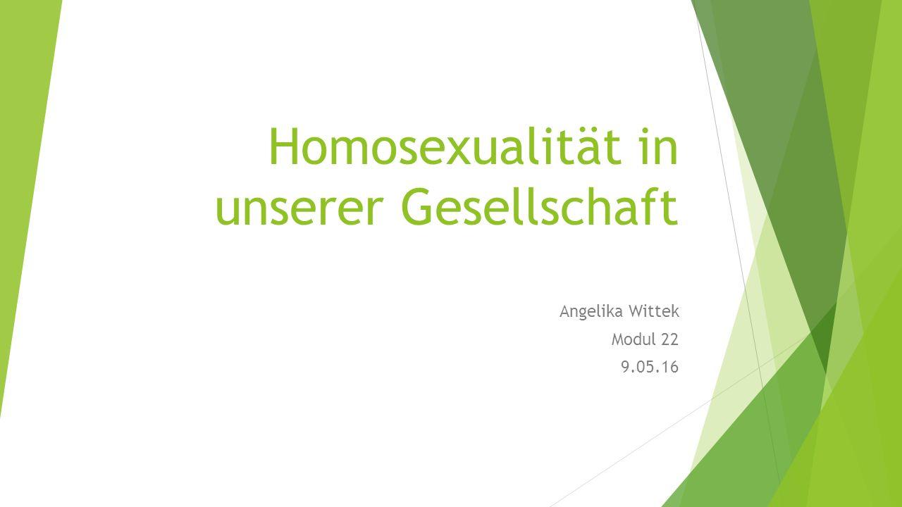 Homosexualität in unserer Gesellschaft Angelika Wittek Modul 22 9.05.16