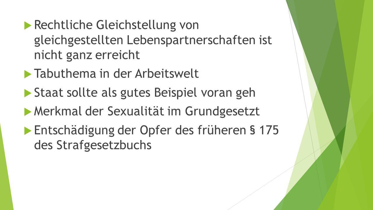  Rechtliche Gleichstellung von gleichgestellten Lebenspartnerschaften ist nicht ganz erreicht  Tabuthema in der Arbeitswelt  Staat sollte als gutes Beispiel voran geh  Merkmal der Sexualität im Grundgesetzt  Entschädigung der Opfer des früheren § 175 des Strafgesetzbuchs