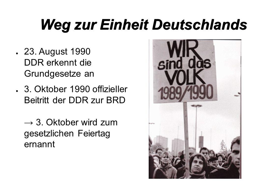 Weg zur Einheit Deutschlands ● 23. August 1990 DDR erkennt die Grundgesetze an ● 3.