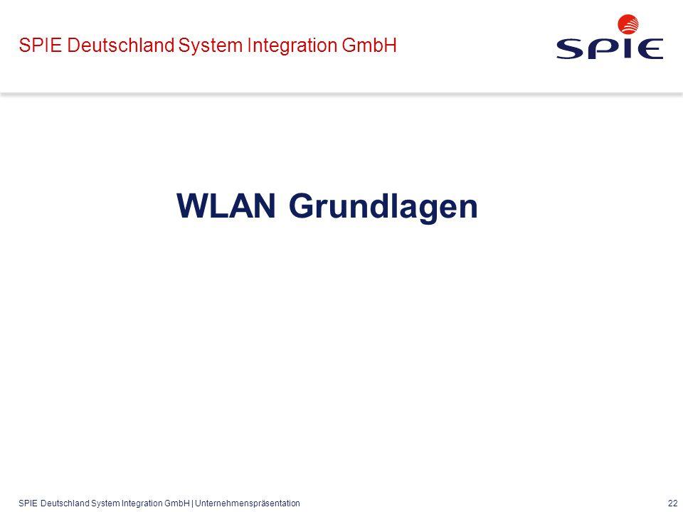 SPIE Deutschland System Integration GmbH | Unternehmenspräsentation 22 SPIE Deutschland System Integration GmbH WLAN Grundlagen