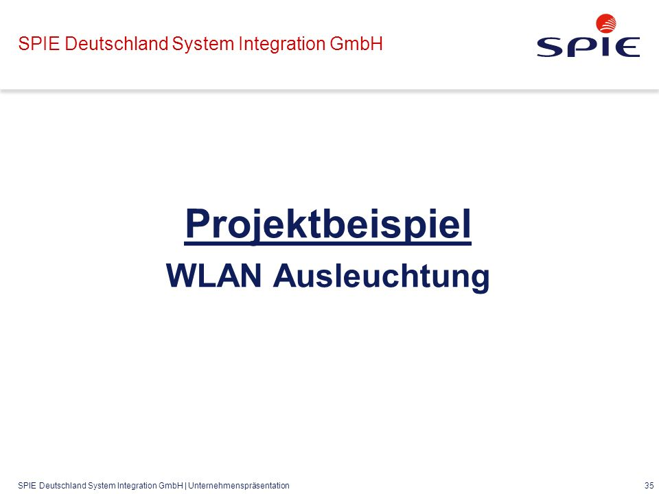 SPIE Deutschland System Integration GmbH | Unternehmenspräsentation 35 SPIE Deutschland System Integration GmbH Projektbeispiel WLAN Ausleuchtung