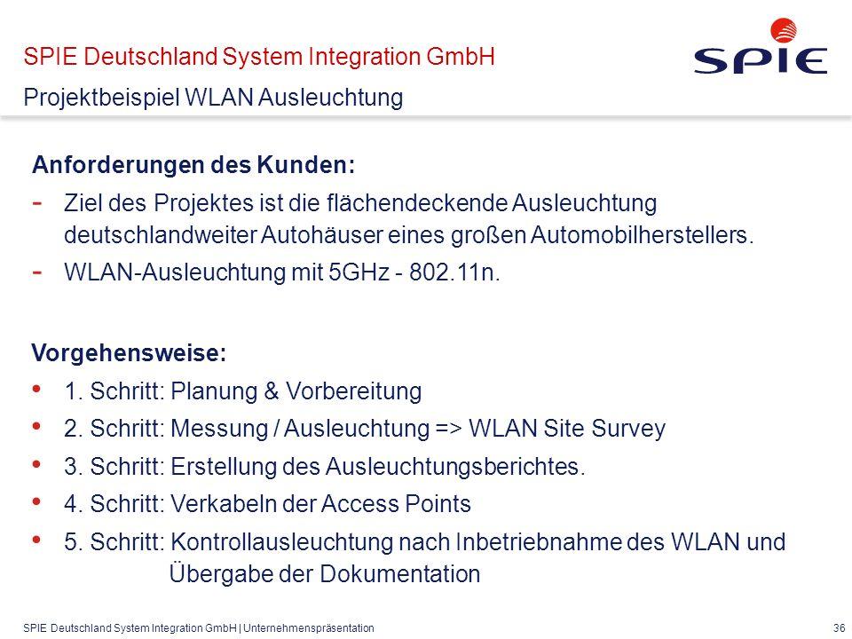 SPIE Deutschland System Integration GmbH | Unternehmenspräsentation 36 Anforderungen des Kunden: - Ziel des Projektes ist die flächendeckende Ausleuchtung deutschlandweiter Autohäuser eines großen Automobilherstellers.