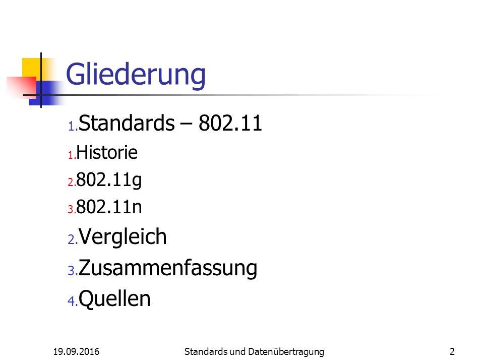 19.09.2016 Standards und Datenübertragung 2 Gliederung 1.