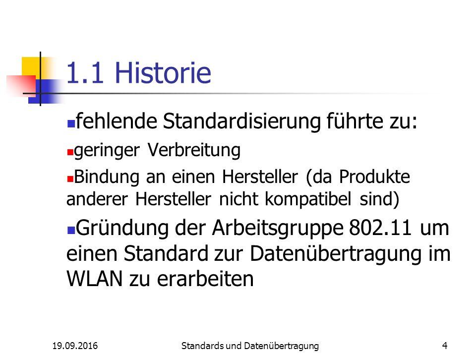 19.09.2016 Standards und Datenübertragung 4 1.1 Historie fehlende Standardisierung führte zu: geringer Verbreitung Bindung an einen Hersteller (da Produkte anderer Hersteller nicht kompatibel sind) Gründung der Arbeitsgruppe 802.11 um einen Standard zur Datenübertragung im WLAN zu erarbeiten