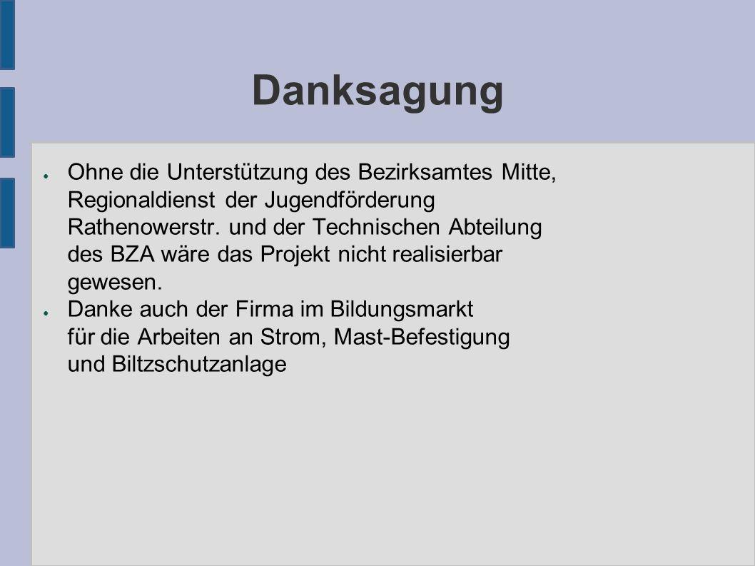 Danksagung ● Ohne die Unterstützung des Bezirksamtes Mitte, Regionaldienst der Jugendförderung Rathenowerstr.