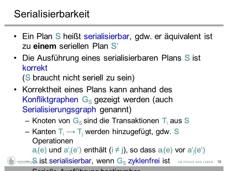 Serialisierbarkeit Ein Plan S heißt serialisierbar, gdw.