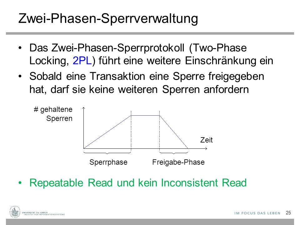 Zwei-Phasen-Sperrverwaltung Das Zwei-Phasen-Sperrprotokoll (Two-Phase Locking, 2PL) führt eine weitere Einschränkung ein Sobald eine Transaktion eine