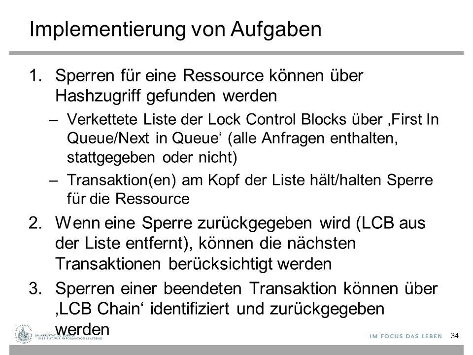 Implementierung von Aufgaben 1.Sperren für eine Ressource können über Hashzugriff gefunden werden –Verkettete Liste der Lock Control Blocks über 'First In Queue/Next in Queue' (alle Anfragen enthalten, stattgegeben oder nicht) –Transaktion(en) am Kopf der Liste hält/halten Sperre für die Ressource 2.Wenn eine Sperre zurückgegeben wird (LCB aus der Liste entfernt), können die nächsten Transaktionen berücksichtigt werden 3.Sperren einer beendeten Transaktion können über 'LCB Chain' identifiziert und zurückgegeben werden 34