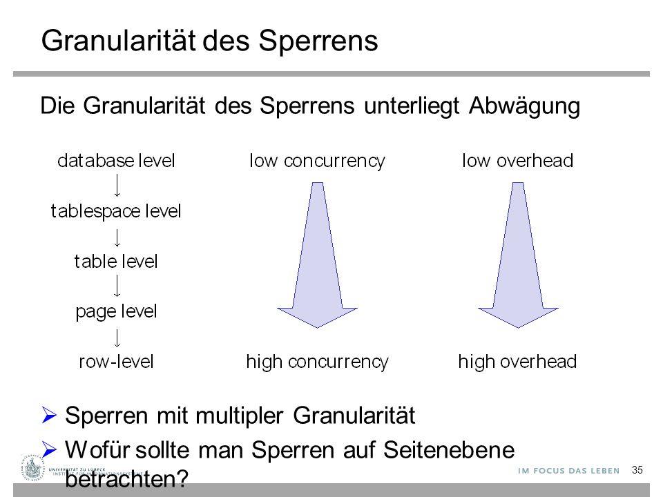 Granularität des Sperrens Die Granularität des Sperrens unterliegt Abwägung  Sperren mit multipler Granularität  Wofür sollte man Sperren auf Seitenebene betrachten.