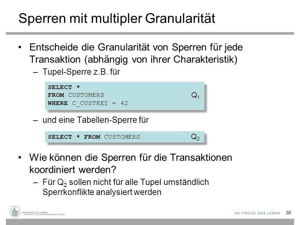 Sperren mit multipler Granularität Entscheide die Granularität von Sperren für jede Transaktion (abhängig von ihrer Charakteristik) –Tupel-Sperre z.B.
