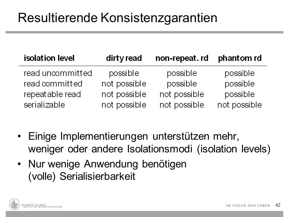 Resultierende Konsistenzgarantien Einige Implementierungen unterstützen mehr, weniger oder andere Isolationsmodi (isolation levels) Nur wenige Anwendung benötigen (volle) Serialisierbarkeit 42