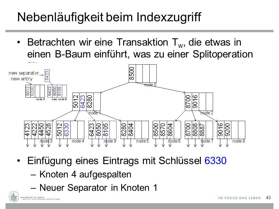 Nebenläufigkeit beim Indexzugriff Betrachten wir eine Transaktion T w, die etwas in einen B-Baum einführt, was zu einer Splitoperation führt 43 Einfügung eines Eintrags mit Schlüssel 6330 –Knoten 4 aufgespalten –Neuer Separator in Knoten 1