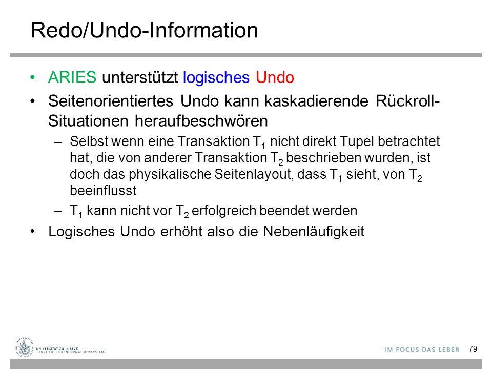 Redo/Undo-Information ARIES unterstützt logisches Undo Seitenorientiertes Undo kann kaskadierende Rückroll- Situationen heraufbeschwören –Selbst wenn eine Transaktion T 1 nicht direkt Tupel betrachtet hat, die von anderer Transaktion T 2 beschrieben wurden, ist doch das physikalische Seitenlayout, dass T 1 sieht, von T 2 beeinflusst –T 1 kann nicht vor T 2 erfolgreich beendet werden Logisches Undo erhöht also die Nebenläufigkeit 79
