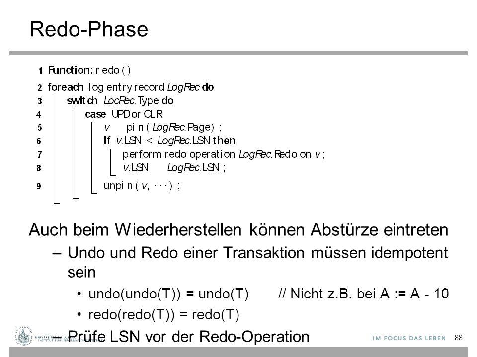 Redo-Phase Auch beim Wiederherstellen können Abstürze eintreten –Undo und Redo einer Transaktion müssen idempotent sein undo(undo(T)) = undo(T) // Nicht z.B.