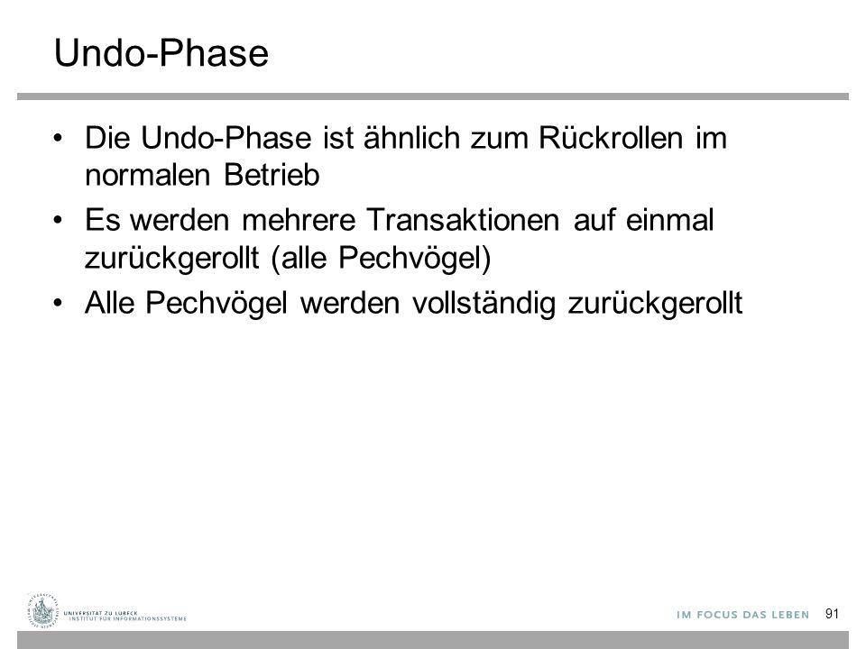 Undo-Phase Die Undo-Phase ist ähnlich zum Rückrollen im normalen Betrieb Es werden mehrere Transaktionen auf einmal zurückgerollt (alle Pechvögel) Alle Pechvögel werden vollständig zurückgerollt 91