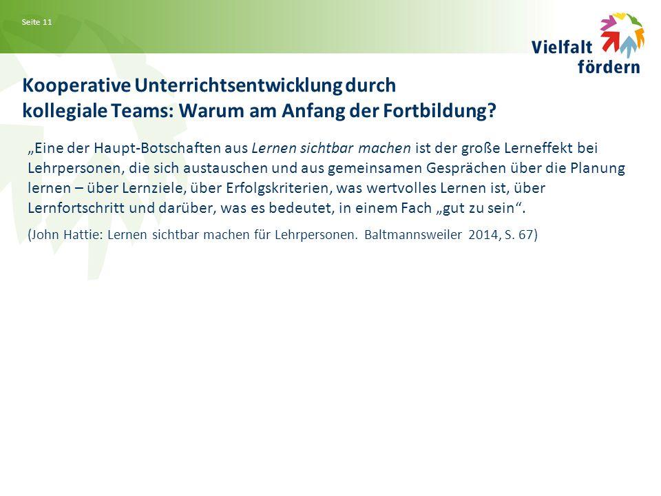 Seite 11 Kooperative Unterrichtsentwicklung durch kollegiale Teams: Warum am Anfang der Fortbildung.