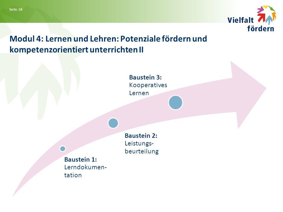 Seite 18 Modul 4: Lernen und Lehren: Potenziale fördern und kompetenzorientiert unterrichten II Baustein 1: Lerndokumen- tation Baustein 2: Leistungs- beurteilung Baustein 3: Kooperatives Lernen