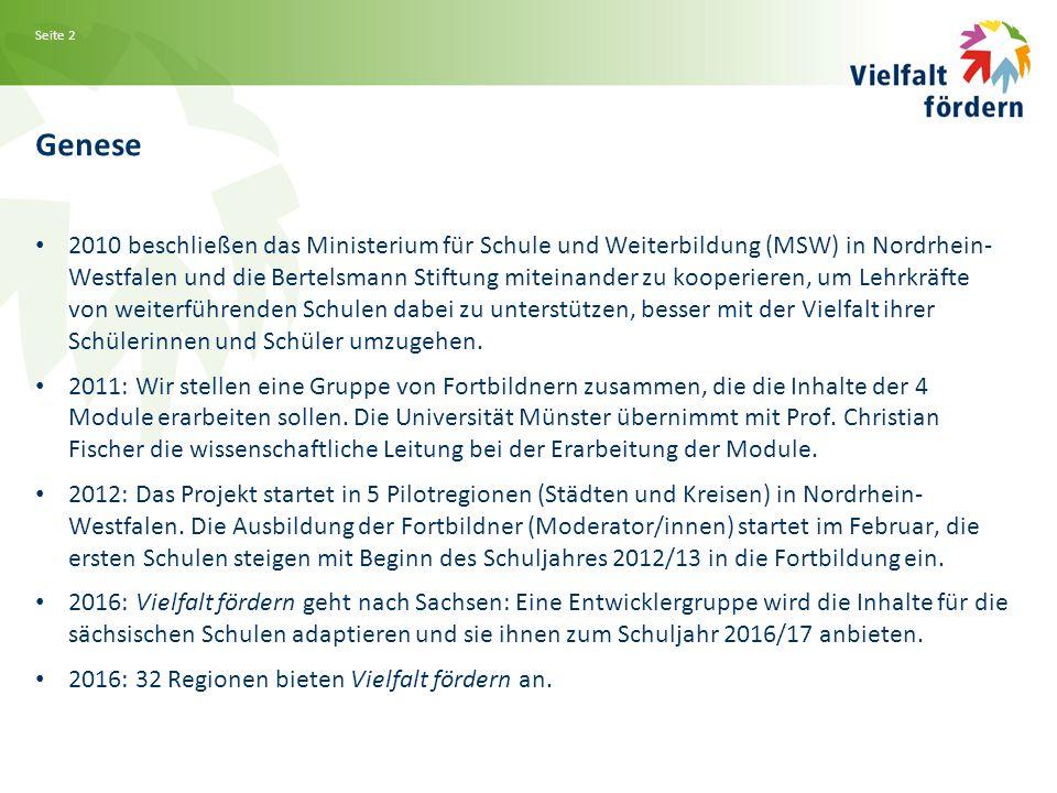 Seite 2 Genese 2010 beschließen das Ministerium für Schule und Weiterbildung (MSW) in Nordrhein- Westfalen und die Bertelsmann Stiftung miteinander zu kooperieren, um Lehrkräfte von weiterführenden Schulen dabei zu unterstützen, besser mit der Vielfalt ihrer Schülerinnen und Schüler umzugehen.
