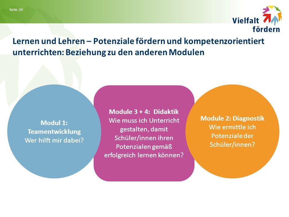 Seite 20 Lernen und Lehren – Potenziale fördern und kompetenzorientiert unterrichten: Beziehung zu den anderen Modulen Module 3 + 4: Didaktik Wie muss ich Unterricht gestalten, damit Schüler/innen ihren Potenzialen gemäß erfolgreich lernen können.