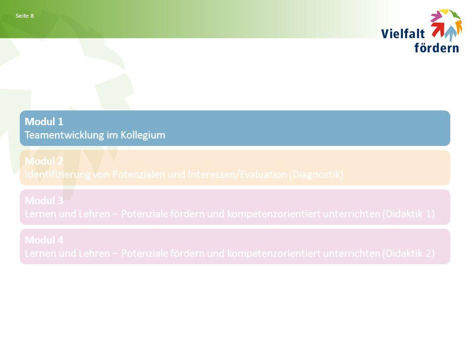 Seite 8 Modul 1 Teamentwicklung im Kollegium Modul 2 Identifizierung von Potenzialen und Interessen/Evaluation (Diagnostik) Modul 3 Lernen und Lehren – Potenziale fördern und kompetenzorientiert unterrichten (Didaktik 1) Modul 4 Lernen und Lehren – Potenziale fördern und kompetenzorientiert unterrichten (Didaktik 2)