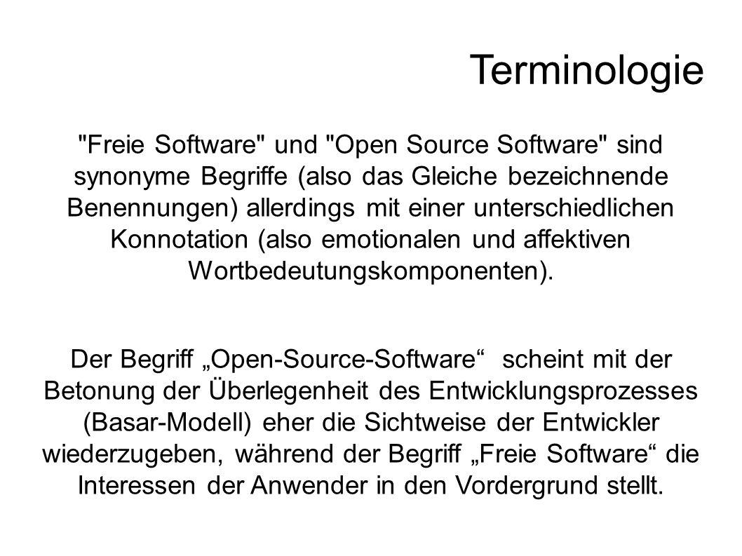 Terminologie Freie Software und Open Source Software sind synonyme Begriffe (also das Gleiche bezeichnende Benennungen) allerdings mit einer unterschiedlichen Konnotation (also emotionalen und affektiven Wortbedeutungskomponenten).