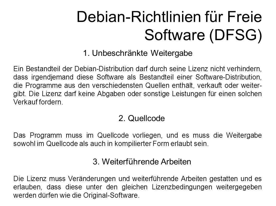 Debian-Richtlinien für Freie Software (DFSG) 1.