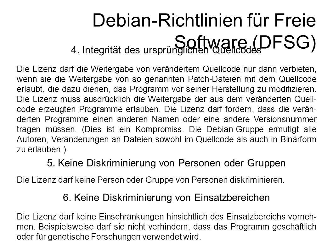 Debian-Richtlinien für Freie Software (DFSG) 4.