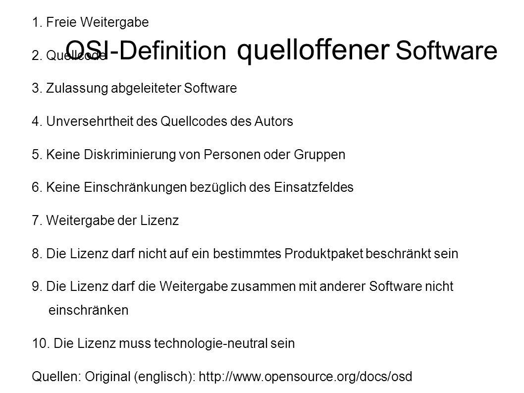 """OSI Die """"Open Source -Definition der OSI (1.-9.) stammt von Bruce Perens, einem ehemaligen Projektleiter von Debian."""