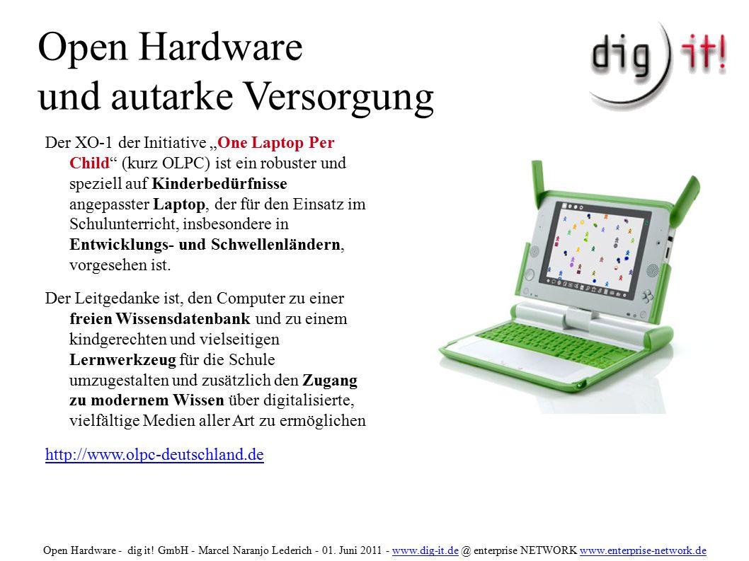 Open Hardware und autarke Versorgung ● Die verwendeten Akkus des OLPC haben eine bis zu viermal längere Lebenszeit als Standard- Akkus.