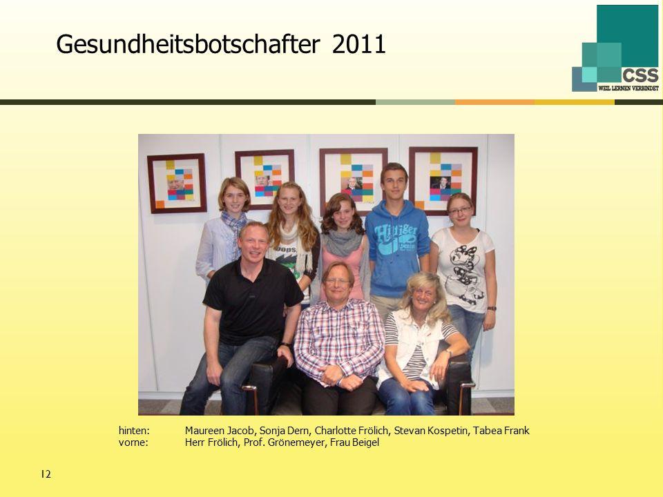 12 hinten:Maureen Jacob, Sonja Dern, Charlotte Frölich, Stevan Kospetin, Tabea Frank vorne:Herr Frölich, Prof.