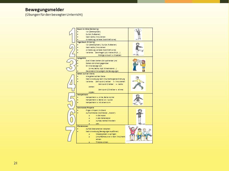 21 Baum im Wind (Beidbeinig)  Vor (Zehenspitzen)  Zurück (Fußballen)  Nach rechts /links lehnen  Armstellung variabel (hoch/tief/vorne) Yoga Baum (Einbeinig)  Vor (Zehenspitzen) / Zurück (Fußballen)  Nach rechts /links lehnen  Armstellung variabel (hoch/tief/vorne)  Variante: Denkfragen (z.B.
