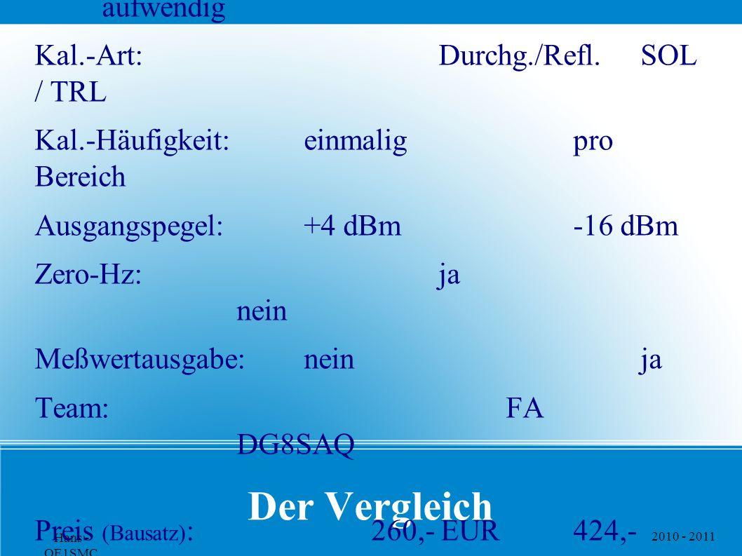 2010 - 2011 Hans - OE1SMC Der Vergleich Gerät:FA-NWT01 VNWA Kalibrierung:einfach aufwendig Kal.-Art:Durchg./Refl.SOL / TRL Kal.-Häufigkeit:einmaligpro Bereich Ausgangspegel:+4 dBm-16 dBm Zero-Hz:ja nein Meßwertausgabe:neinja Team:FA DG8SAQ Preis (Bausatz) :260,- EUR424,- EUR