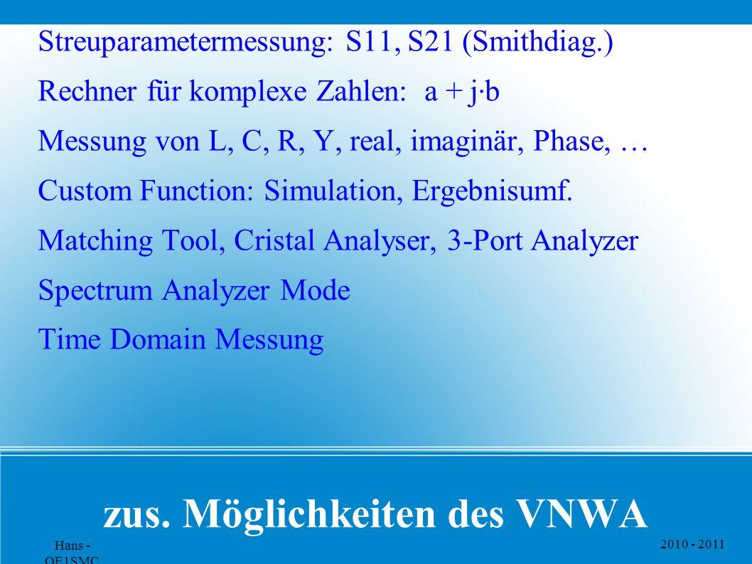 2010 - 2011 Hans - OE1SMC zus. Möglichkeiten des VNWA Streuparametermessung: S11, S21 (Smithdiag.) Rechner für komplexe Zahlen: a + j · b Messung von