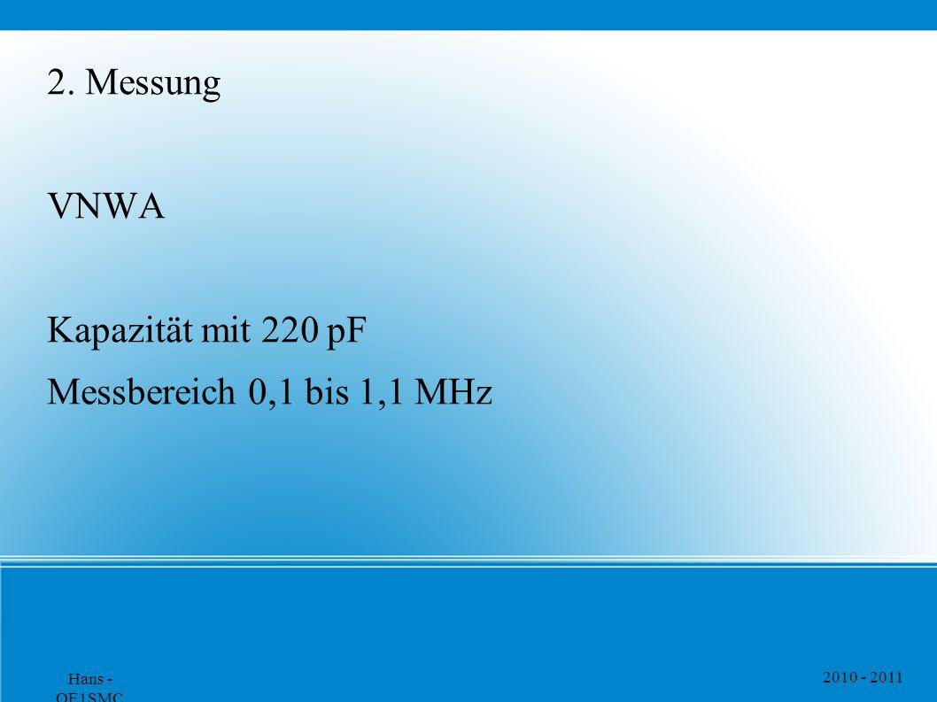 2010 - 2011 Hans - OE1SMC 2. Messung VNWA Kapazität mit 220 pF Messbereich 0,1 bis 1,1 MHz