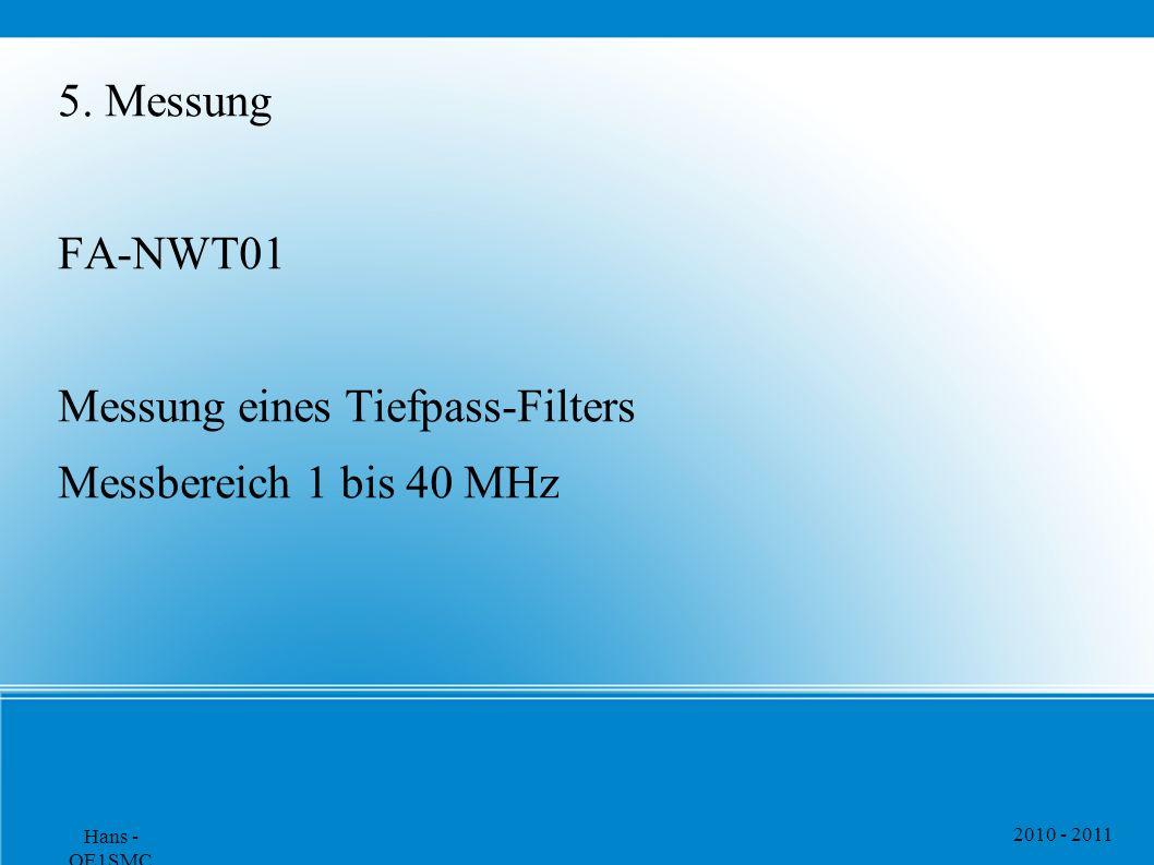 2010 - 2011 Hans - OE1SMC 5. Messung FA-NWT01 Messung eines Tiefpass-Filters Messbereich 1 bis 40 MHz