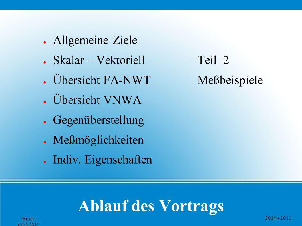 2010 - 2011 Hans - OE1SMC Ablauf des Vortrags ● Allgemeine Ziele ● Skalar – Vektoriell ● Übersicht FA-NWT ● Übersicht VNWA ● Gegenüberstellung ● Meßmöglichkeiten ● Indiv.