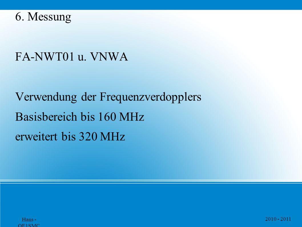 2010 - 2011 Hans - OE1SMC 6. Messung FA-NWT01 u. VNWA Verwendung der Frequenzverdopplers Basisbereich bis 160 MHz erweitert bis 320 MHz